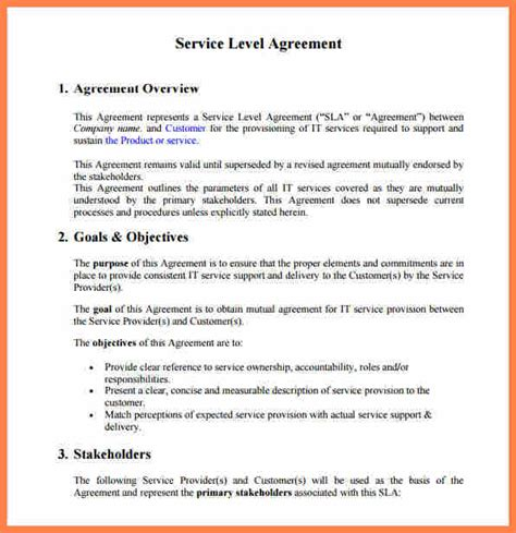 support sla template 6 service level agreement template for it support