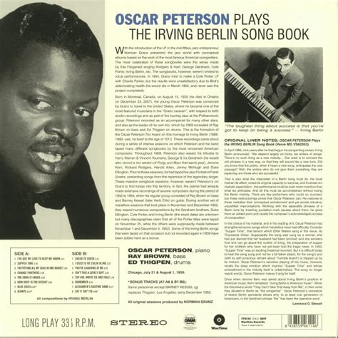 list of irving berlin songs chronological wikipedia oscar peterson plays the irving berlin song book vinyl at