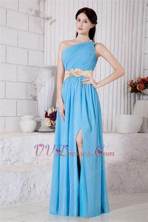 aqua color dress one shoulder neck aqua blue prom dress with front split