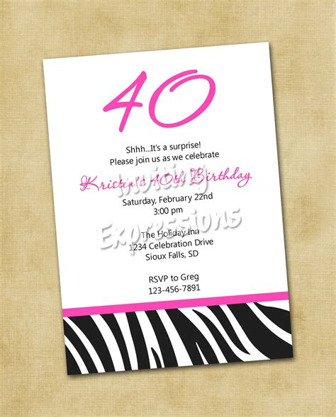 40th birthday invitation templates invitations for 40th birthday quotes quotesgram