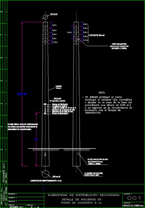concrete pole   dwg detail  autocad designs cad