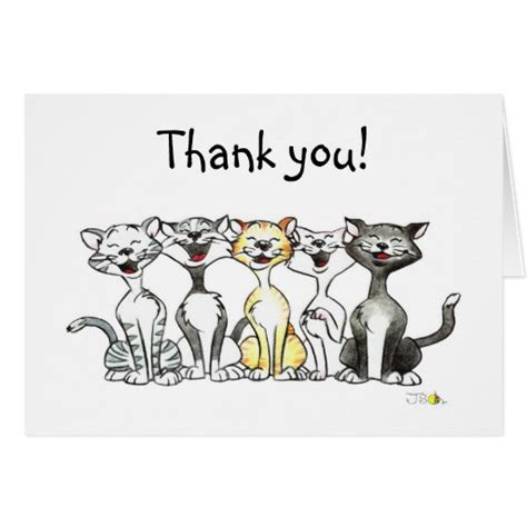 Thank You Letter To Singing Singing Cats Thank You Note Card Zazzle