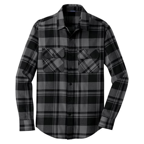 Kemeja Flannel Tartan Black Grey port authority s grey black plaid flannel shirt