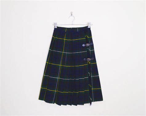 navy blue plaid skirt tartan skirt kilt from trashy vintage