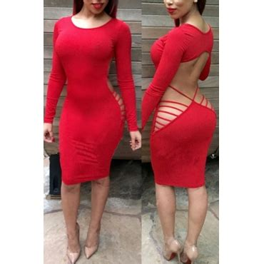 Strappy Backless Sheath Dress o neck sleeves backless strappy hollow out