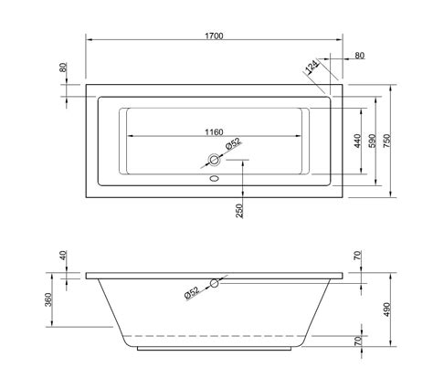 badewanne tief tiefe badewanne 170 x 75 cm mit seitlichem 220 berlauf
