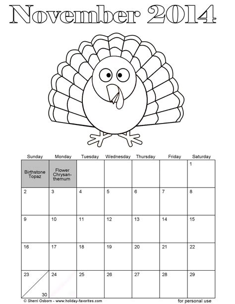 free coloring pages of november calendar