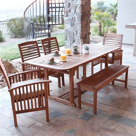 Walker Edison 6 Piece Wood Patio Dining Set In Brown With Wood Patio Dining Set