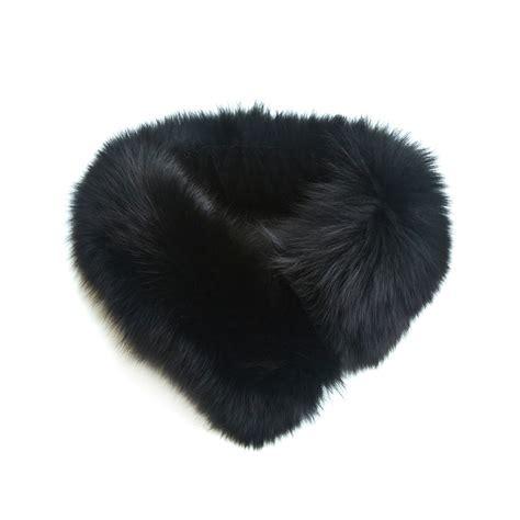 small black fox fur collar headband philippa