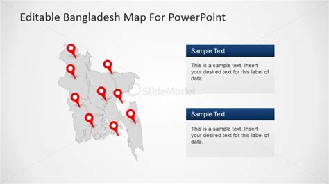 Powerpoint Themes Greyed Out | greyed out bangladesh map with regions for powerpoint