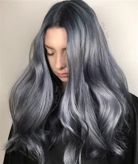 guy tang grey hair metallic denim hair color by guy tang silver hair color