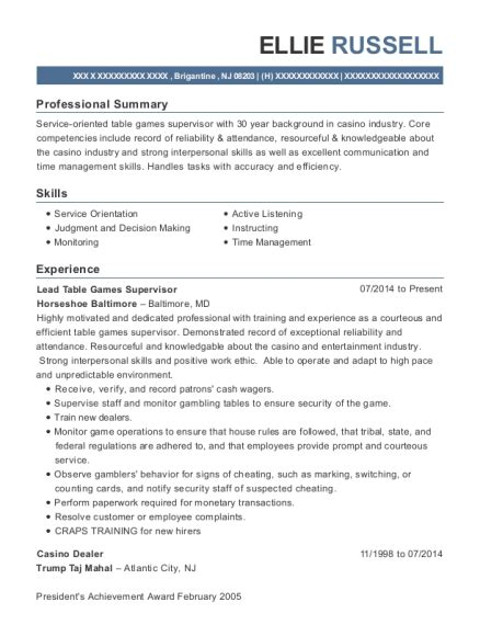 Best Casino Dealer Resumes Resumehelp Casino Resume Template