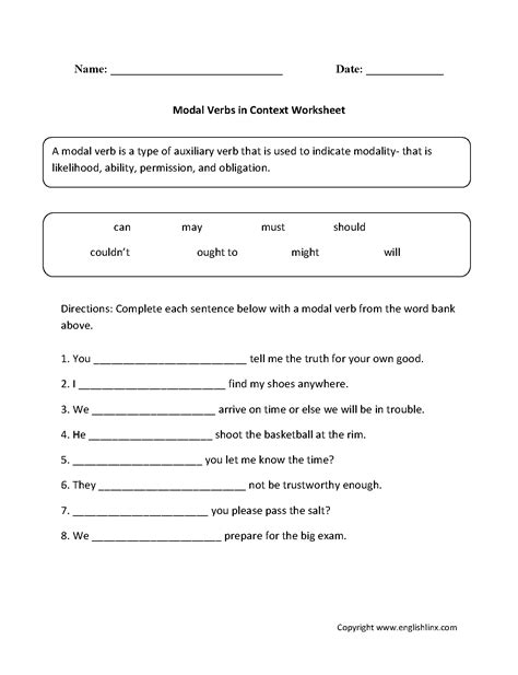 Verbs Worksheets by Modal Verbs Worksheets Spag Worksheets