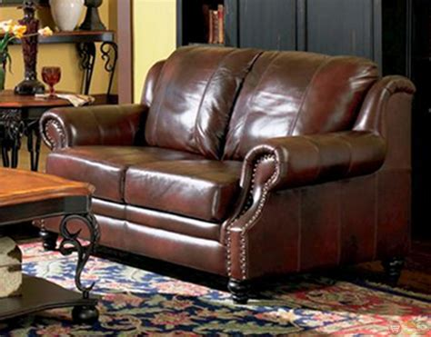 Living Room Leather Furniture Princeton Genuine Leather Living Room Sofa Loveseat Tri Tone Brown