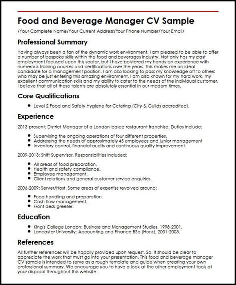 Resume F B Assistant Manager by Food And Beverage Manager Cv Sle Myperfectcv