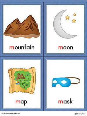 5 Letter Words Beginning With M letter m words and pictures printable cards mountain