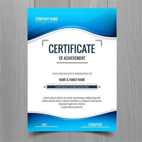 blue wavy certificate vector free download