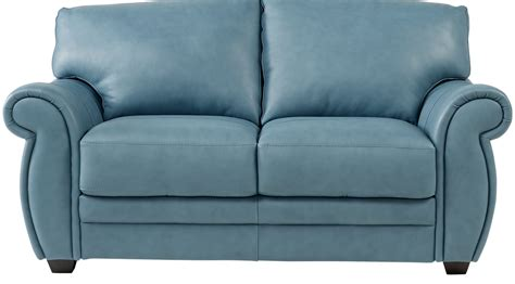 blue leather loveseat martello blue leather loveseat classic transitional