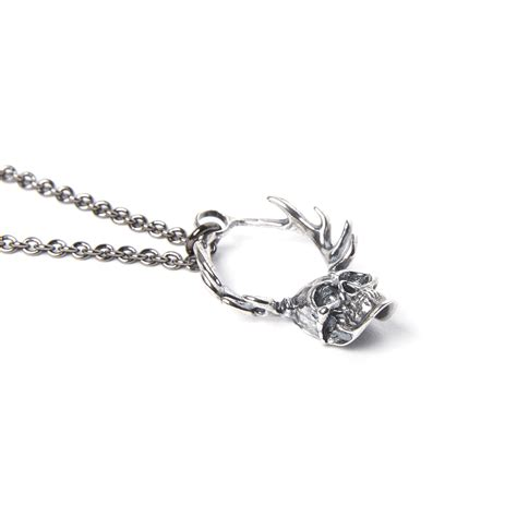 Skeleton Silver Plat White Harga Miring skull of cernunnos necklace silver plated white bronze 18 quot chain moon designs