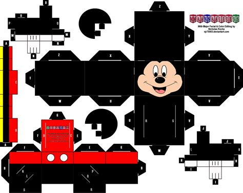 Mickey Mouse Papercraft - cubee mickey mouse remastered by njr75003 on deviantart
