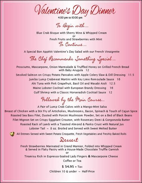 dinner menu for 4 pin by bon appetit restaurant on events and banquets