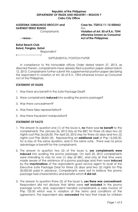 Complaint Letter To Dti Exle Department Of Trade And Industry Dti Complaint Estafabohol