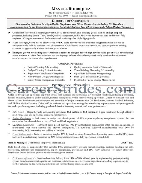 Operations Manager Resume Sle Pdf 11 Director Of Operations Resume Director Of Operations