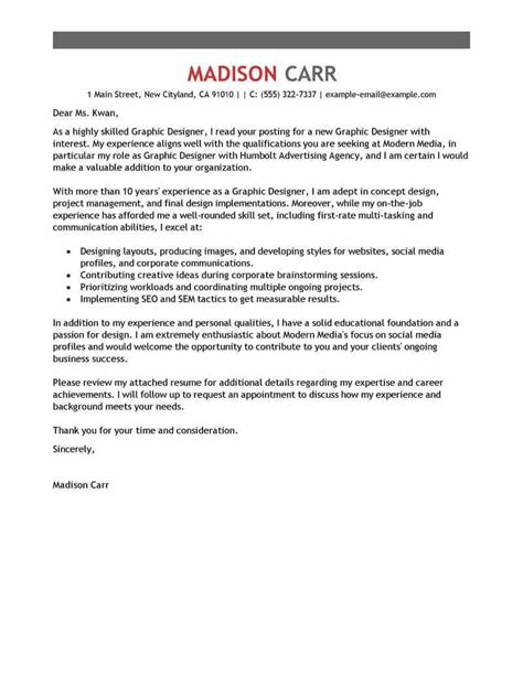Cover Letter Presentation Exle by Best Graphic Designer Cover Letter Exles Livecareer