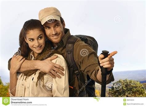 Cauple Senny outing in weather stock images image 35810224