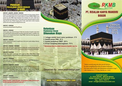 contoh desain brosur iklan contoh desain brosur haji dan umroh dengan tilan