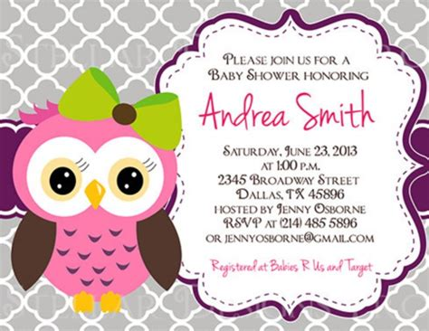 owl themed baby shower invitation template owl baby shower invitation on etsy invitations