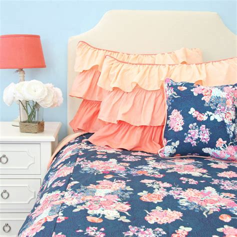 navy blue and pink bedding charleigh s coral navy duvet cover caden lane