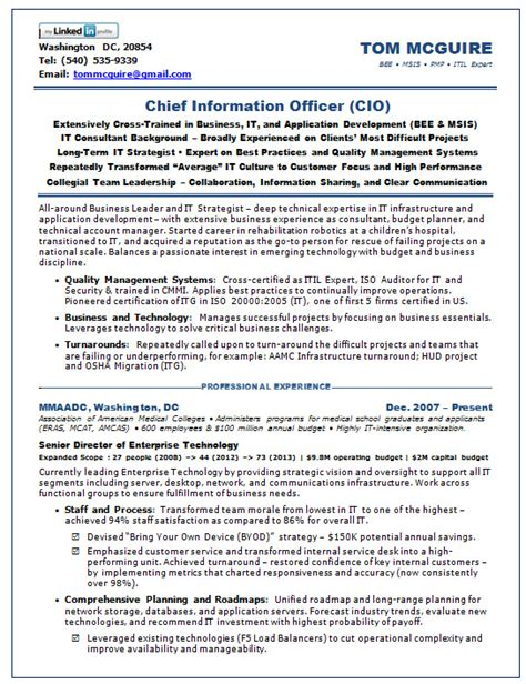 resume sles chief information officer saas