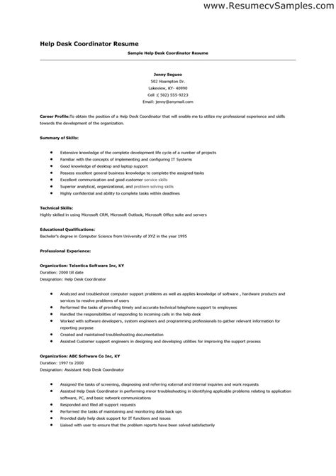 cover letter for help desk computer support specialist resume sles