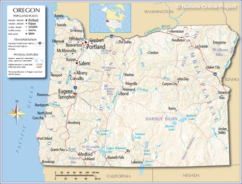 oregon map reference map of oregon usa nations project