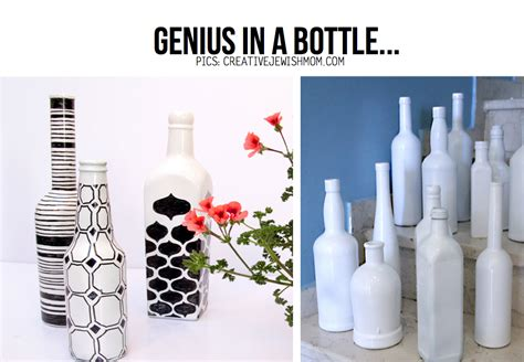 diy painted graphic wine bottles