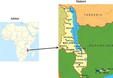 Map Of Malawi Showing Cities And Some Major Towns