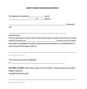 subcontractors contract template 10 subcontractor agreement templates free sle
