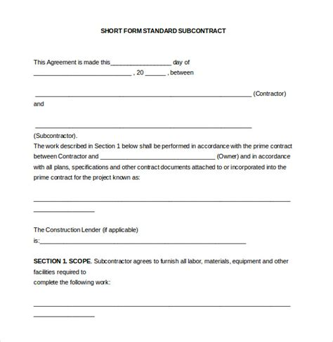 subcontractors agreement template 14 subcontractor agreement templates free sle