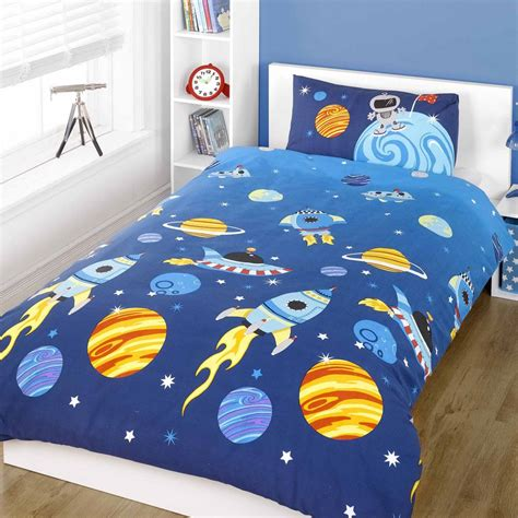 rocket single duvet quilt cover bedding set space solar