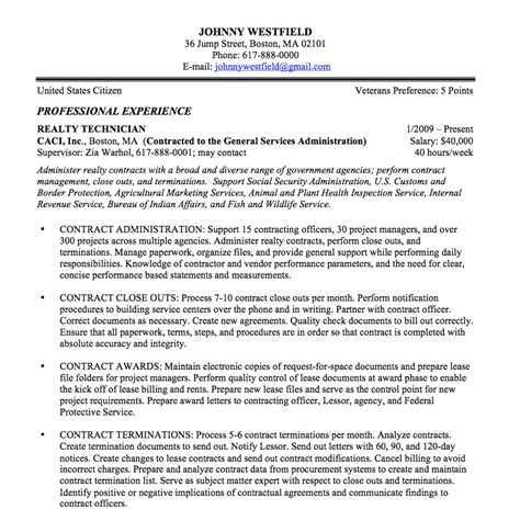 Resume Writing For Federal Federal Resume Sle And Format The Resume Place