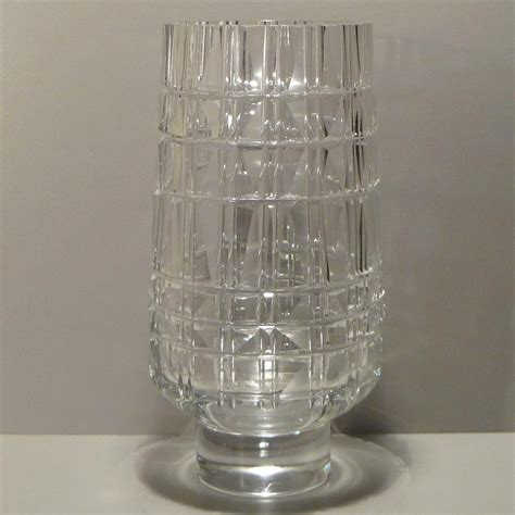 Czechoslovakia Vase by Exbor Faceted Clear Glass Vase Czechoslovakia From