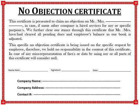no objection letter format for employer occupancy specialist cover