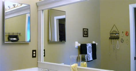 this thrifty house framed bathroom mirror bathroom mirror framed with crown molding hometalk