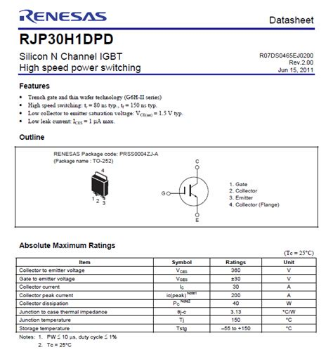 Sale Igbt Irg7r313u Smd rjp30h1 silicon n channel igbt high speed power switching