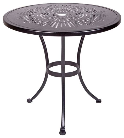 Bistro Tables Outdoor by Bistro 30 Quot Rd Sted Metal Dining Table With 2 Quot Umbrella