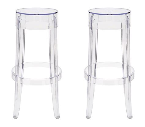 Clear Stool by 2 X Ghost Style Clear Color Bar Stool