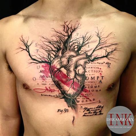 chest tattoo tree first tattoo heart tree chest piece by lu at dreamworx