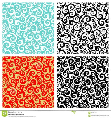 floral garden repeat pattern free seamless scrolls patterns stock vector image of