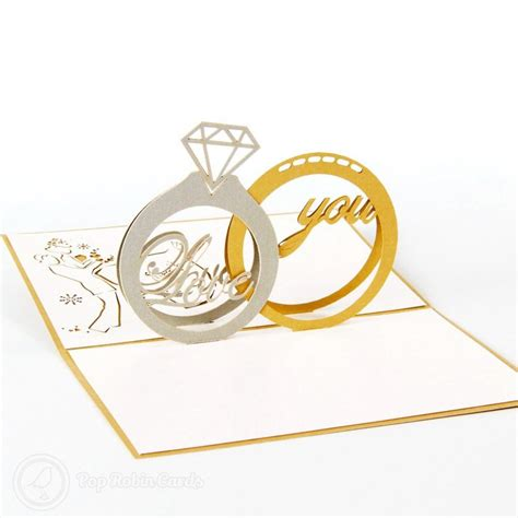 wedding ring pop up card template ring 3d pop up congratulations card 163 5 85 3d
